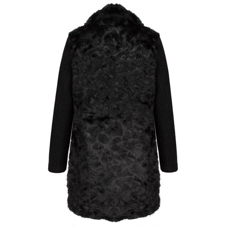 RINO AND PELLE Ziyu Textured Faux Fur Jacket - Black