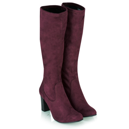 Caprice Footwear Verena Faux Suede Stretch Boot - Purple