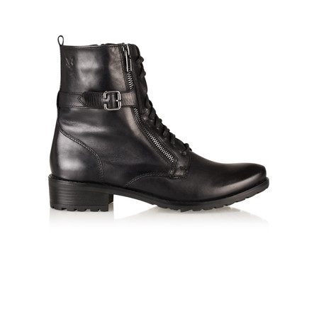 Caprice Footwear Cara Lace Up Leather Ankle Boot - Black