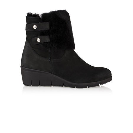 Caprice Footwear Leah Fur Lined Wedge Ankle Boot - Black