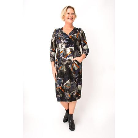 Sahara Modernist Print Jersey Drape Dress - Multicoloured