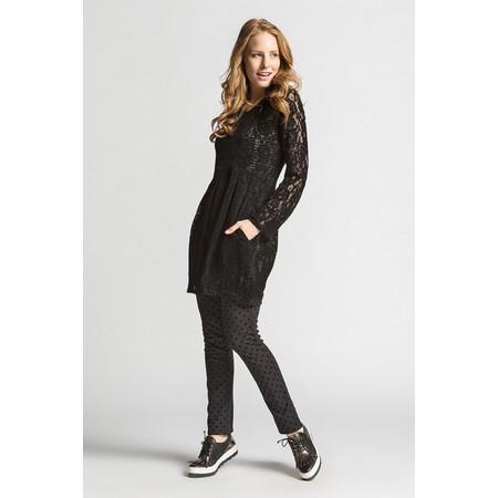 Myrine Luna Velvet Lace Tunic Dress - Black
