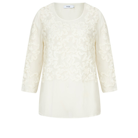 Myrine Consus Crepe Patterned Top - White