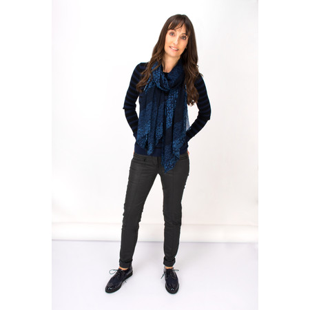 Sandwich Clothing Victoria Weave Abstract Dot Pattern Scarf - Blue
