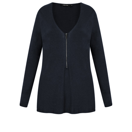 Lauren Vidal Roz Zip Detail Jumper - Blue
