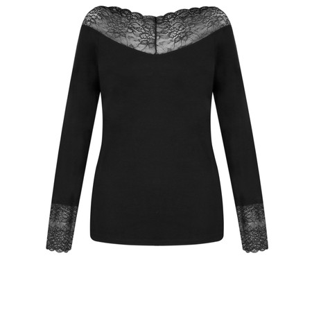 Lauren Vidal Essential Long Sleeve Lace Top - Black