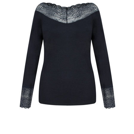 Lauren Vidal Essential Long Sleeve Lace Top - Blue