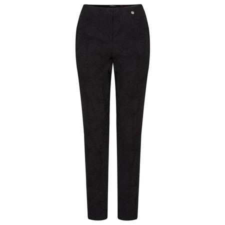 Robell Trousers Marie Flower Jacquard Slim Fit Trouser - Black