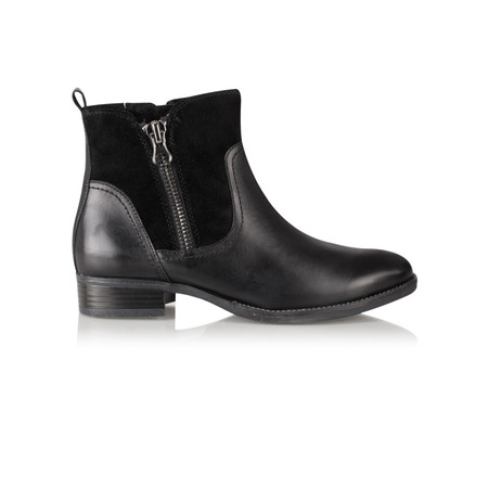 Caprice Footwear Linda Zip Detail Leather Ankle Boot - Black