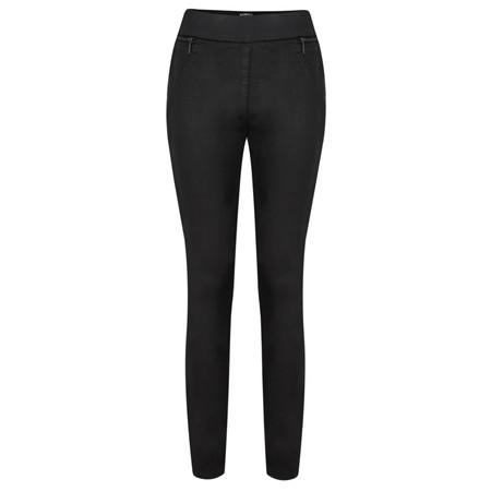 Robell Trousers Collette Coated Jegging with Zip Pocket - Black