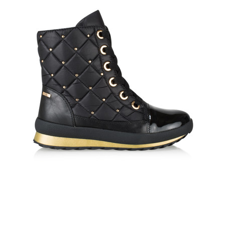 Caprice Footwear Lotta Quilted Lace Up Ankle Boots - Black
