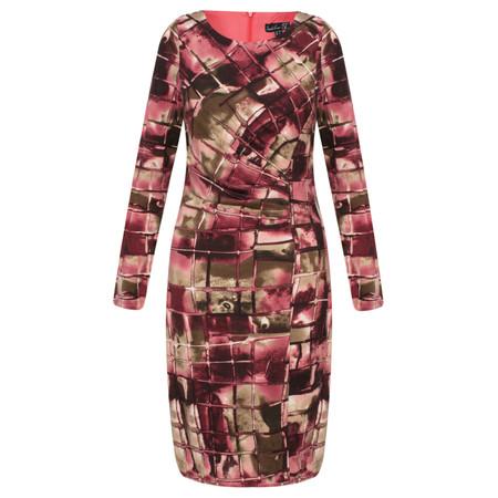 Smashed Lemon Pink Tiled Print Dress - Purple