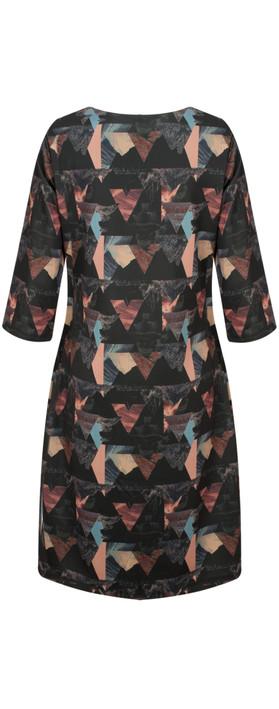 Smashed Lemon Triangle Print Dress Grey