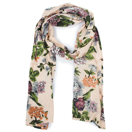Masai Clothing Painted Floral Along Scarf - Brown