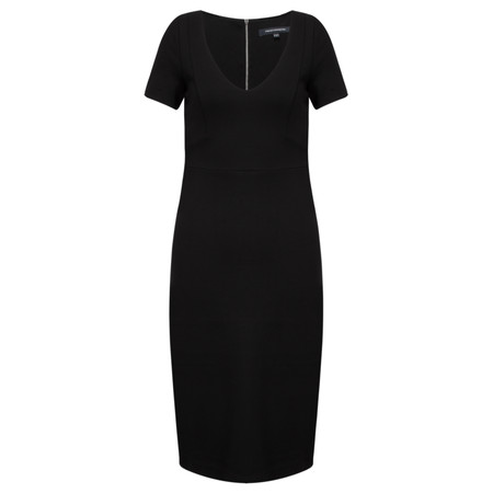 French Connection Lula Stretch V Neck Dress - Black