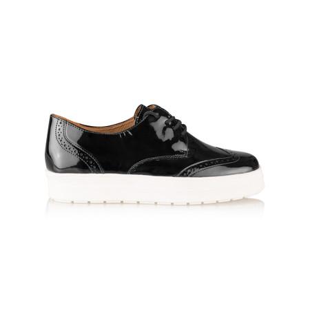 Caprice Footwear Romy Patent Leather Flatform Brogue - Beige