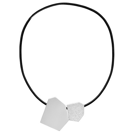 Dansk Smykkekunst Trixie Shape Leather Necklace - Metallic