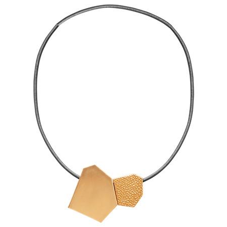 Dansk Smykkekunst Trixie Shape Leather Necklace - Metallic
