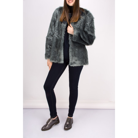 Lauren Vidal Riva Short Fur Jacket - Blue