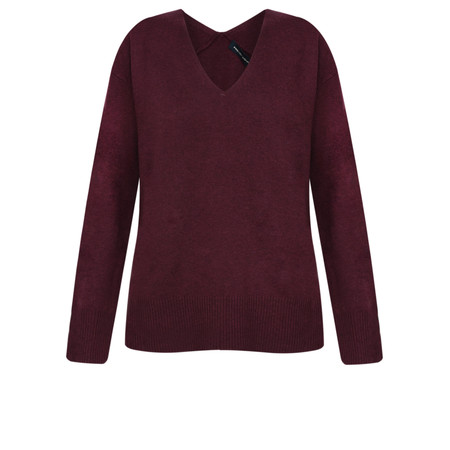 French Connection Della Vhari Long Sleeve V Neck Jumper - Purple