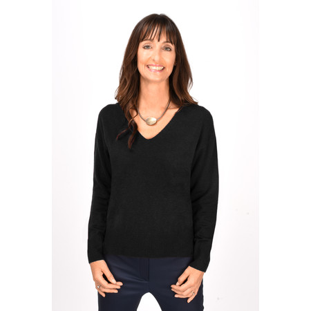 French Connection Della Vhari Long Sleeve V Neck Jumper - Black