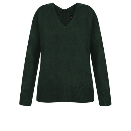 French Connection Della Vhari Long Sleeve V Neck Jumper - Green