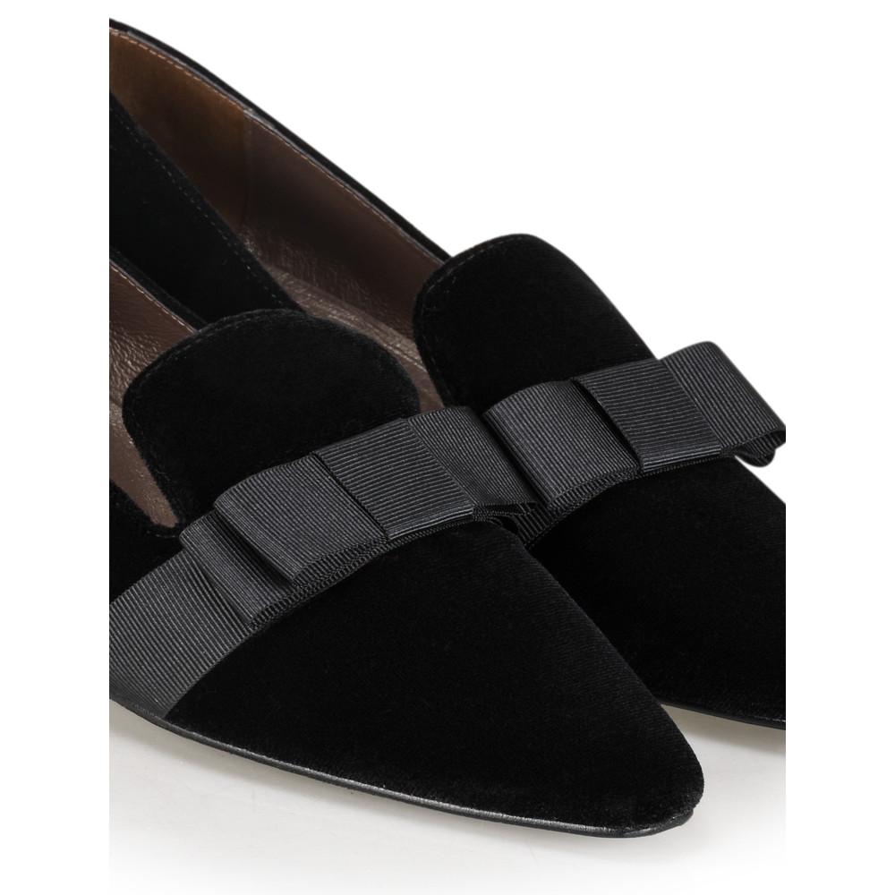 Gemini Label Shoes Rolero Velvet Pump Nero Black