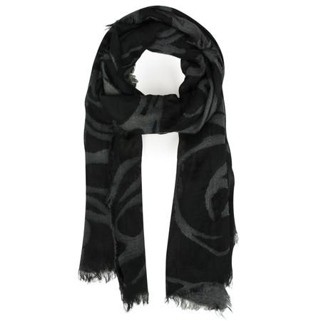 V.Fraas Printed Wool Wrap Scarf - Black