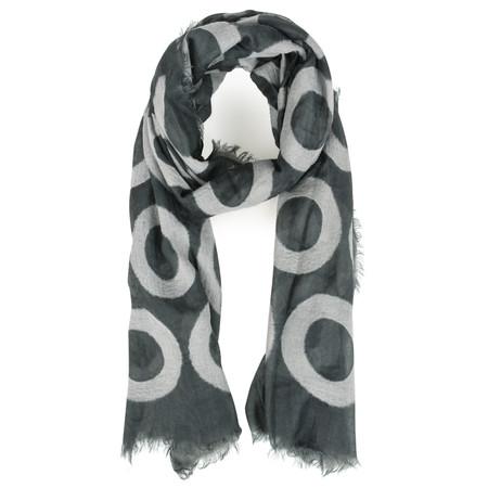 V.Fraas Circle Print Wool Wrap Scarf - Black