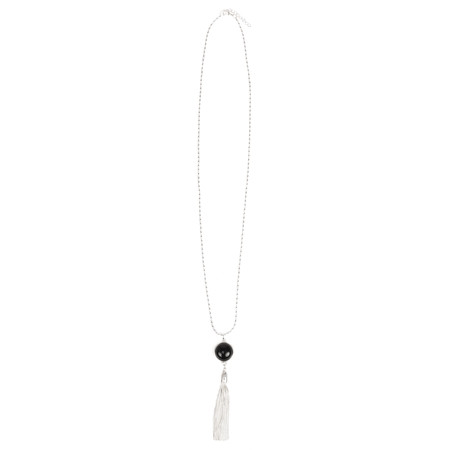 Eliza Gracious Jemima Circle Pendant Tassel Necklace  - Black