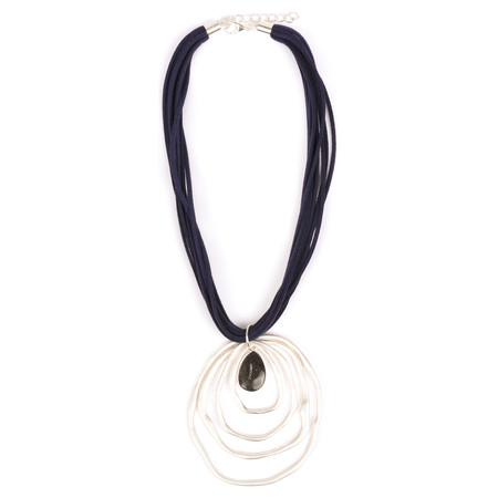 Eliza Gracious Cleopatra Stone Ring Pendant Necklace  - Blue