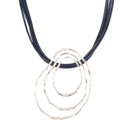 Eliza Gracious Dora Triple Pendant Cord Necklace - Blue