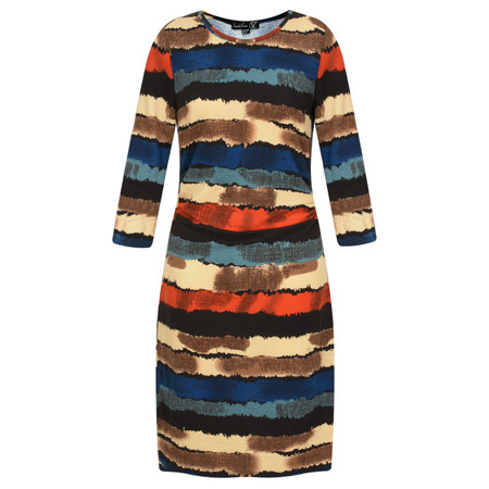 Smashed Lemon Striped Patterned Dress - Brown