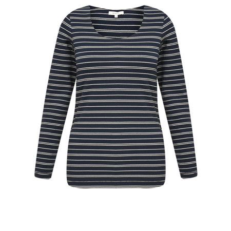 Sandwich Clothing Striped Jersey Long Sleeve Top - Blue