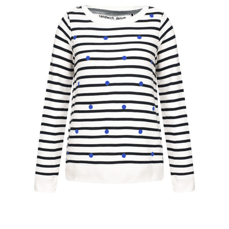 Sandwich Clothing Stripe and Spot Print Jumper - White