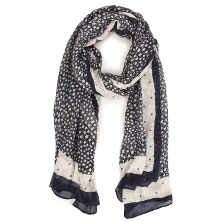 Sandwich Clothing Dotted Pattern Woven Scarf - Blue