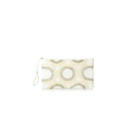 CF Designs Circle Beaded Zip Top Bag - Beige