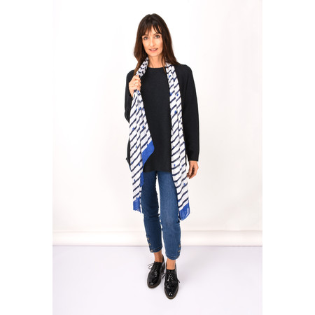 Sandwich Clothing Stripe and Spot Print Woven Scarf - Blue