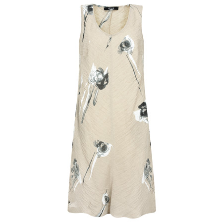 Q'neel Rose Linen Sleeveless Dress - Beige