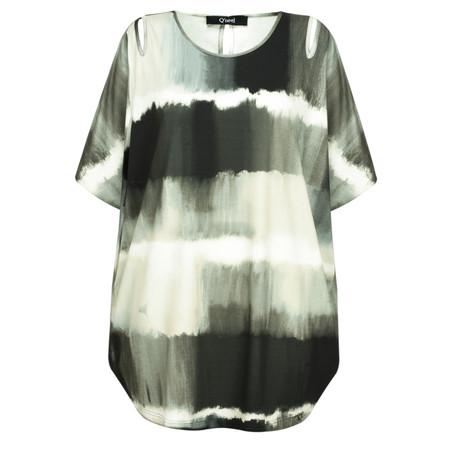 Q'neel Printed Tie Dye Jersey Top - Black