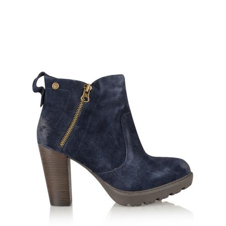 Carmela Suede Zip Ankle Boot - Blue