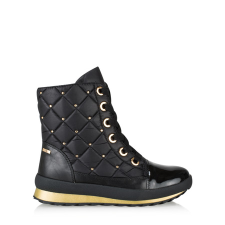 Caprice Footwear Lotta Quilted Lace Up Nordic Ankle Boots - Black
