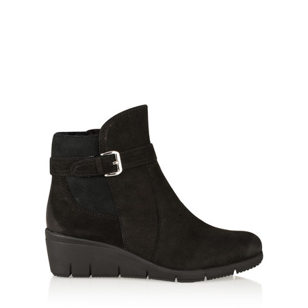Caprice Footwear Lisa Buckle Detail Wedge Ankle Boot - Black