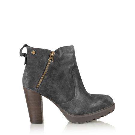 Carmela Suede Zip Ankle Boot - Grey