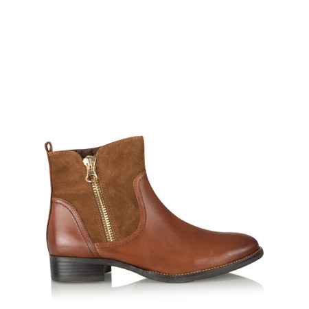 Caprice Footwear Linda Zip Detail Leather Ankle Boot - Brown