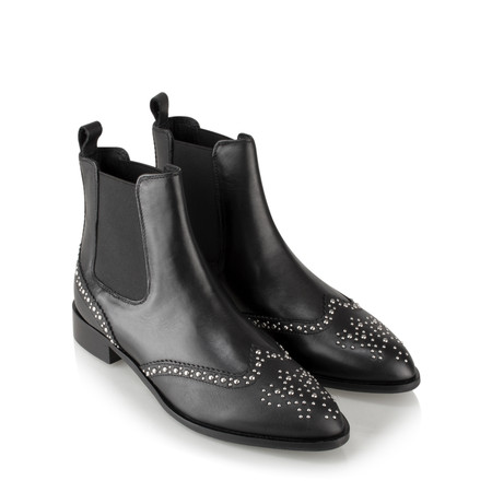 Vanilla Moon Shoes Bambina Leather Stud Chelsea Boot - Black