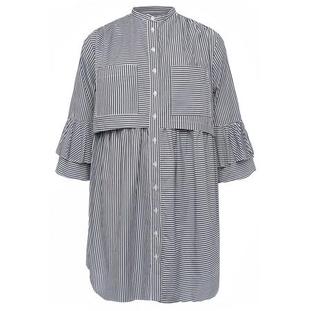French Connection Summer Stripe Oversized Shirt Dress - Black