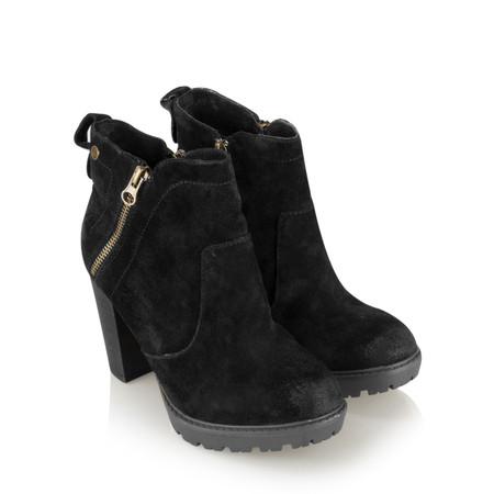 Carmela Suede Zip Ankle Boot - Black