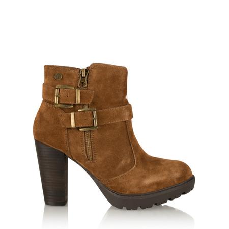 Carmela Suede Buckle Ankle Boot - Brown