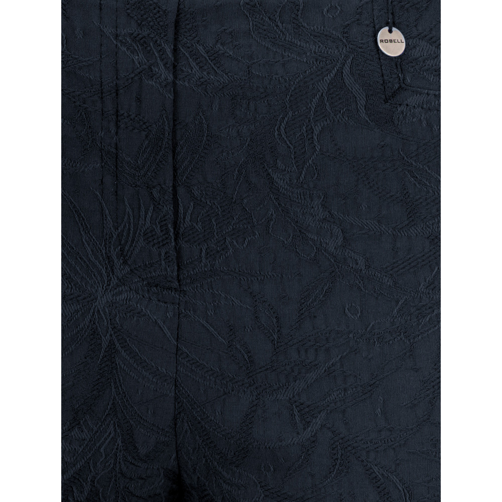 Robell Marie 07 Navy Jacquard Crop Trouser Navy